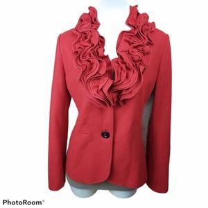 Giorgio Italia woolblend red blazer ruffle colar